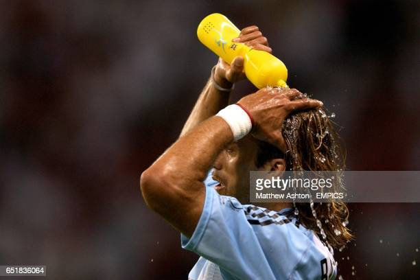Argentina's Gabriel Batistuta takes a break from the action