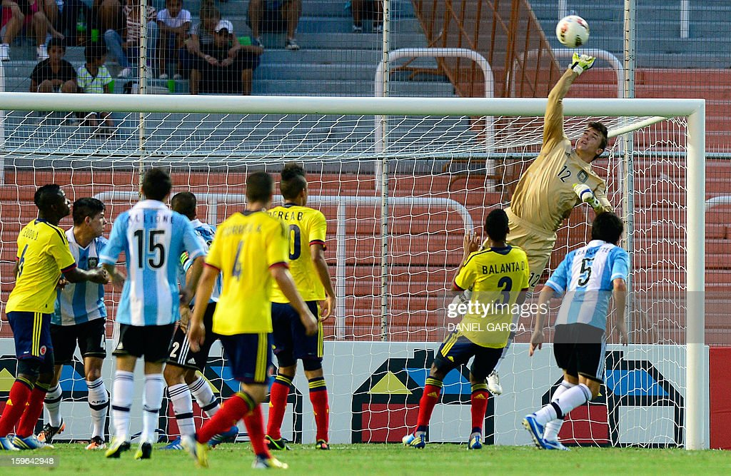 Argentina's goalkeeper Andres Mehring clears the ball during the South American U-20 Group A football match against Colombia at Malvinas Argentinas stadium in Mendoza, Argentina, on January 17, 2013. Four teams will qualify for the Turkey 2013 FIFA U-20 World Cup.