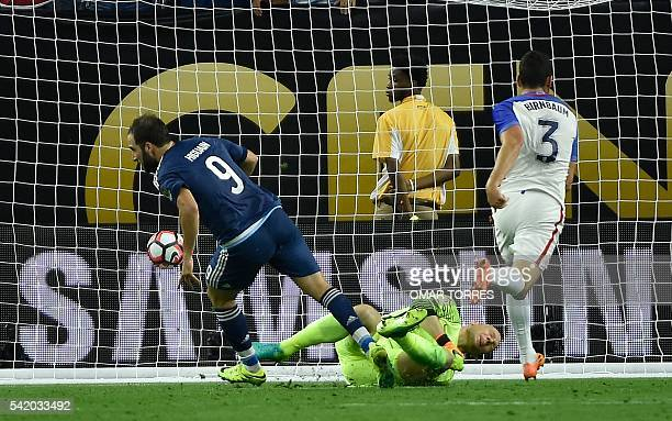 Argentina's Gonzalo Higuain celebrates after scoring against USA during their Copa America Centenario semifinal football match in Houston Texas...