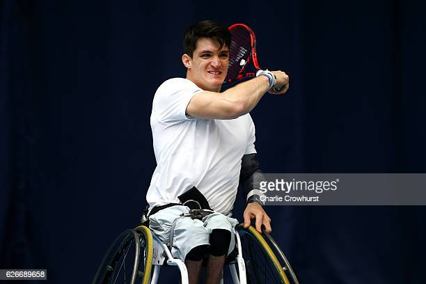 Argentina's Gustavo Fernandez in action during his match against Maikel Scheffers of Hollands on Day 1 of NEC Wheelchair Tennis Masters at Queen...