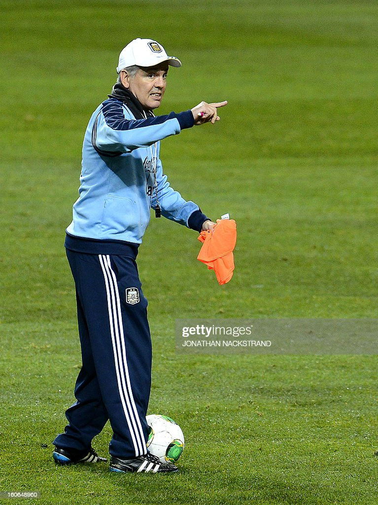 Argentina's head coach Alejandro Sabella takes part in a training session of the Argentina national football team at the 'Friends Arena' in Stockholm, Sweden, on February 4, 2013 two days before the FIFA World Cup 2014 friendly match Sweden vs Argentina.