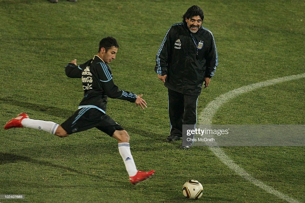 Argentina's head coach Diego Maradona gives instructions during goal kicking practice for his replacement players at a team training session on June 23, 2010 in Pretoria, South Africa.