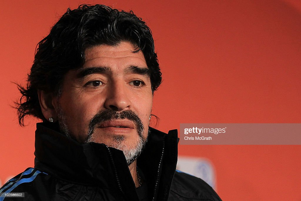 Argentina's head coach <a gi-track='captionPersonalityLinkClicked' href=/galleries/search?phrase=Diego+Maradona&family=editorial&specificpeople=210535 ng-click='$event.stopPropagation()'>Diego Maradona</a> speaks to the media during a press conference at Green Point Arena on July 2, 2010 in Cape Town, South Africa.