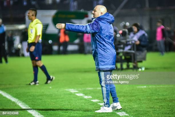 Argentina's head coach Jorge Sampaoli gestures during the 2018 FIFA World Cup qualifying match between Uruguay and Argentina at the Centenario...