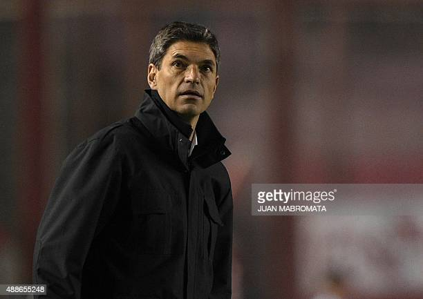 Argentina's Independiente coach Mauricio Pellegrino gestures during a Copa Sudamericana 2015 second stage second leg football match against...