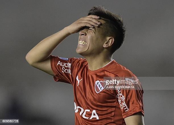 Argentina's Independiente forward Ezequiel Barco reacts after missing a goal opportunity against Brazil's Chapecoense during their Copa Sudamericana...