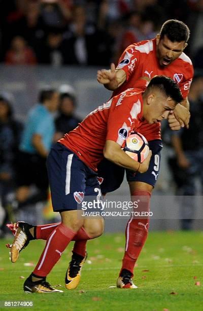 Argentina's Independiente midfielder Ezequiel Barco celebrates after scoring against Paraguay's Libertad during their Copa Sudamericana second leg...