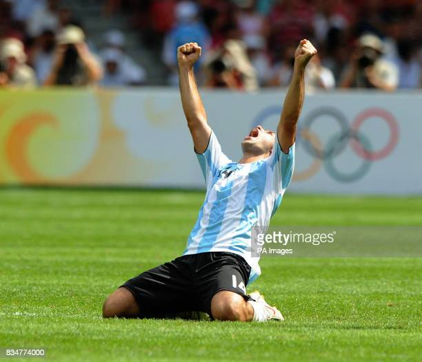 Argentina's Javier Mascherano celebrates at the final whistle as Argentina win the Men's Football Competition at the National Stadium during the 2008...