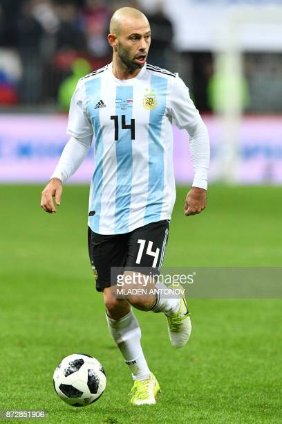Argentina's Javier Mascherano controls the ball during an international friendly football match between Russia and Argentina at the Luzhniki stadium...