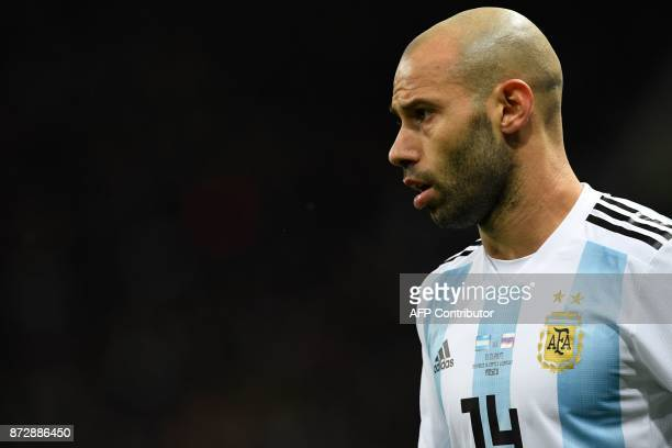 Argentina's Javier Mascherano looks on during an international friendly football match between Russia and Argentina at the Luzhniki stadium in Moscow...