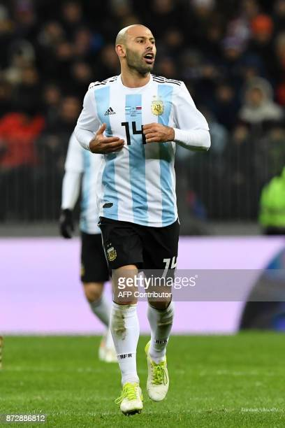 Argentina's Javier Mascherano runs during an international friendly football match between Russia and Argentina at the Luzhniki stadium in Moscow on...