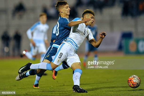 Argentina's Juan Marcos Foyth vies for the ball with Uruguay's player Nicolas Schiappacasse during their South American Championship U20 football...