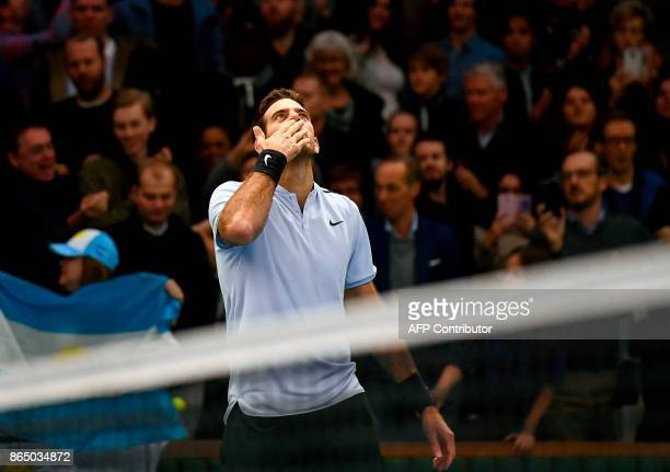 Argentina's Juan Martin Del Potro celebrates after winning against Bulgaria's Grigor Dimitrov their final match at the ATP Stockholm Open tennis...