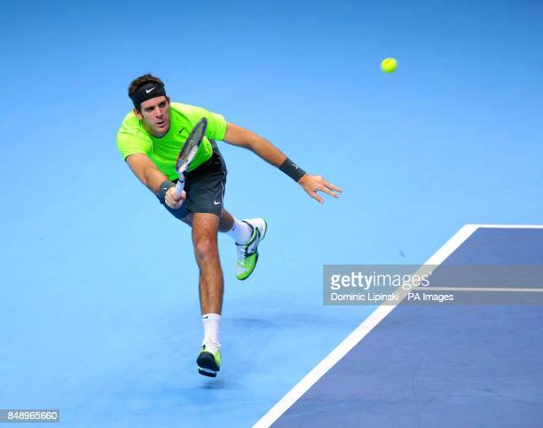 Argentina's Juan Martin del Potro in action against Serbia's Janko Tipsarevic in their Men's Singles Group B match during the Barclays ATP World Tour...