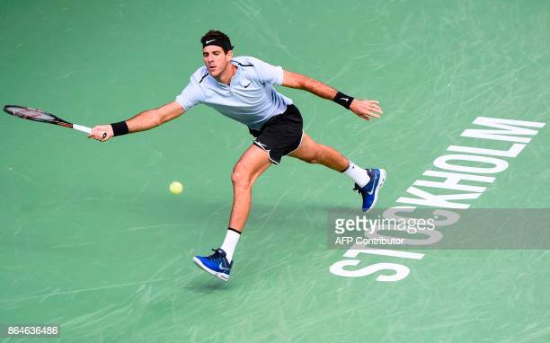 Argentina's Juan Martin Del Potro returns the ball to Spain's Fernando Verdasco during the semi final match of the ATP Stockholm Open tennis...