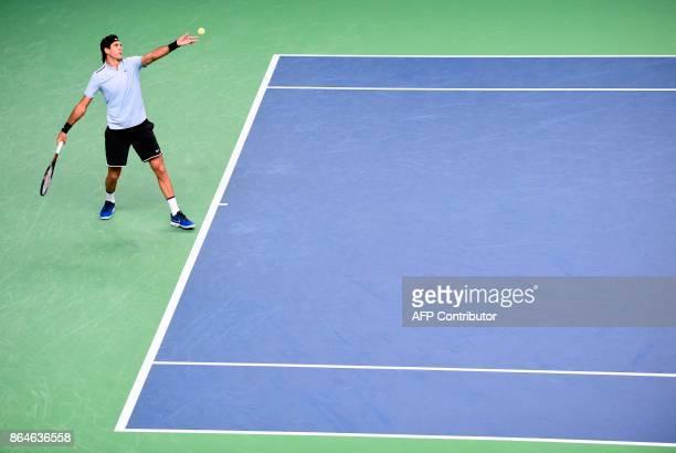 Argentina's Juan Martin Del Potro serves the ball to Spain's Fernando Verdasco during the semi final match of the ATP Stockholm Open tennis...