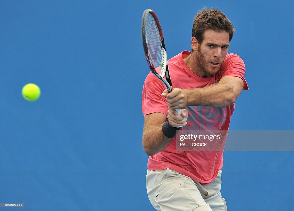 Argentina's Juan Martín Del Potro hits a return during a training sesion ahead of the Australian Open tennis tournament in Melbourne on January 13, 2013.