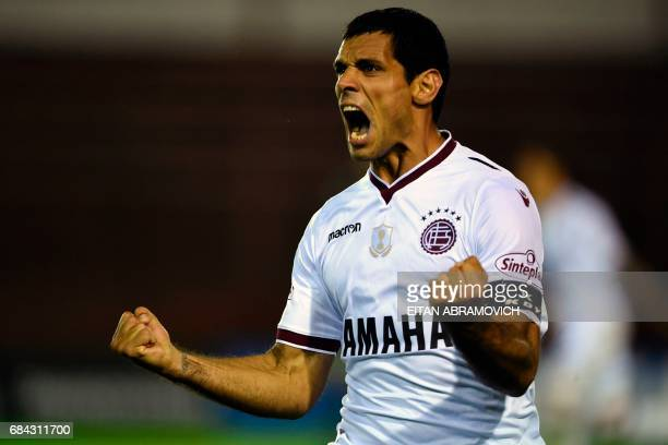Argentina's Lanus forward Jose Sand celebrates after scoring a goal against Brazil's Chapecoense during the Copa Libertadores 2017 group first leg...