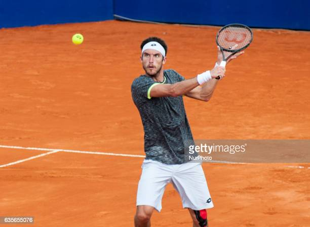 Argentina's Leonardo Mayer returns to Spain's Albert Ramos during their Argentina Open 250 ATP tennis singles match in Buenos Aires Argentina on...