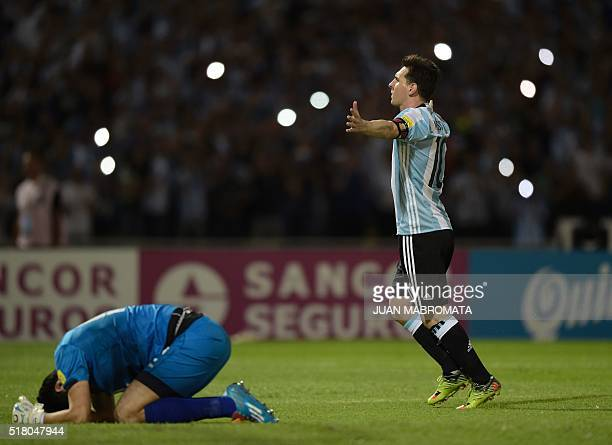 Argentina's Lionel Messi celebrates after scoring a penalty against Bolivia during their Russia 2018 FIFA World Cup South American Qualifiers'...