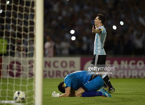 Argentina's Lionel Messi celebrates after scoring against Bolivia during their Russia 2018 FIFA World Cup South American Qualifiers' football match...