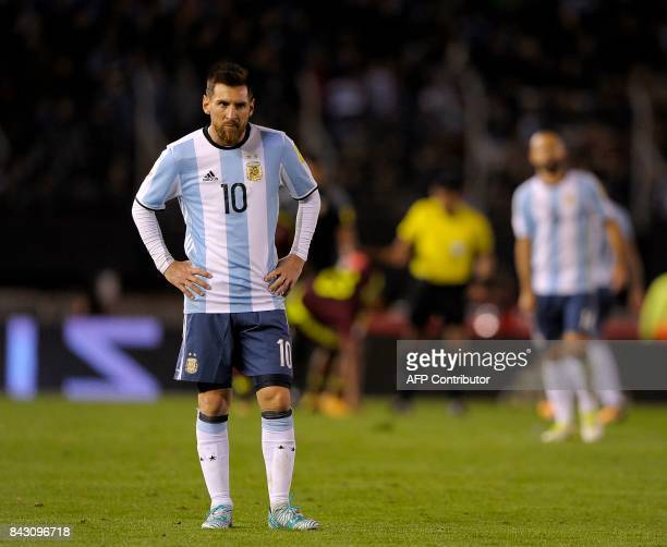 Argentina's Lionel Messi gestures during the 2018 World Cup qualifier football match against Venezuela in Buenos Aires on September 5 2017 / AFP...