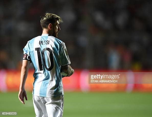 TOPSHOT Argentina's Lionel Messi gestures during their 2018 FIFA World Cup qualifier football match against Colombia in San Juan Argentina on...