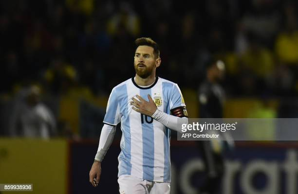Argentina's Lionel Messi gestures during their 2018 World Cup qualifier football match against Ecuador in Quito on October 10 2017 / AFP PHOTO /...