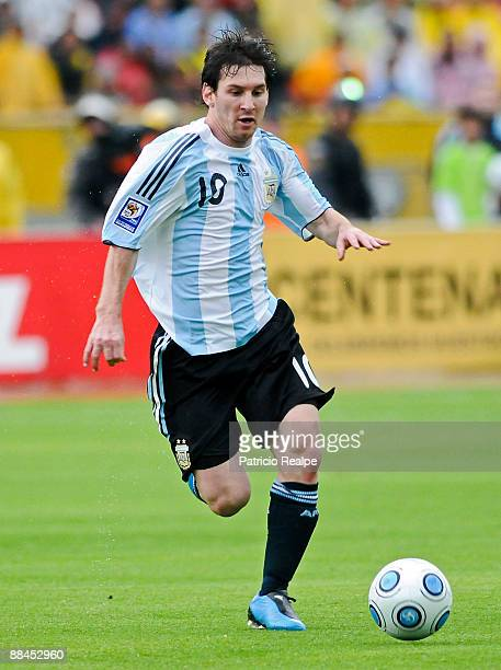Argentina's Lionel Messi in action during a 2010 FIFA World Cup South American qualifier against Ecuador at the Atahualpa Stadium on June 10 2009 in...