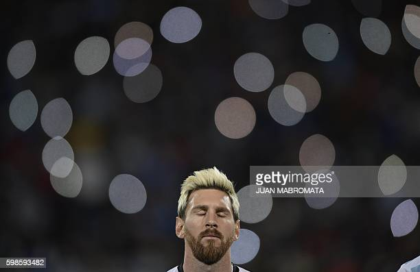 TOPSHOT Argentina's Lionel Messi is seen before the start of the Russia 2018 World Cup qualifier football match in Mendoza Argentina on September 1...