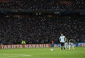 Argentina's Lionel Messi prepares to shoot a penalty kick against Bolivia during their Russia 2018 FIFA World Cup South American Qualifiers' football...