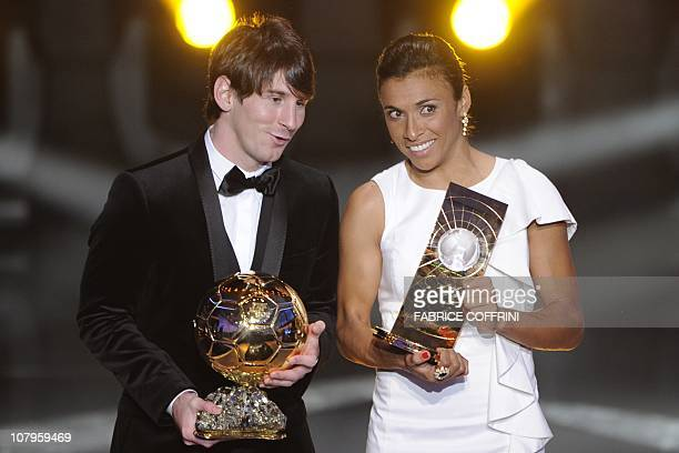 Argentina's Lionel Messi winner of the FIFA Ballon d'Or and Brazil's Marta winner of the FIFA Women's World Player of the Year pose on January 10...