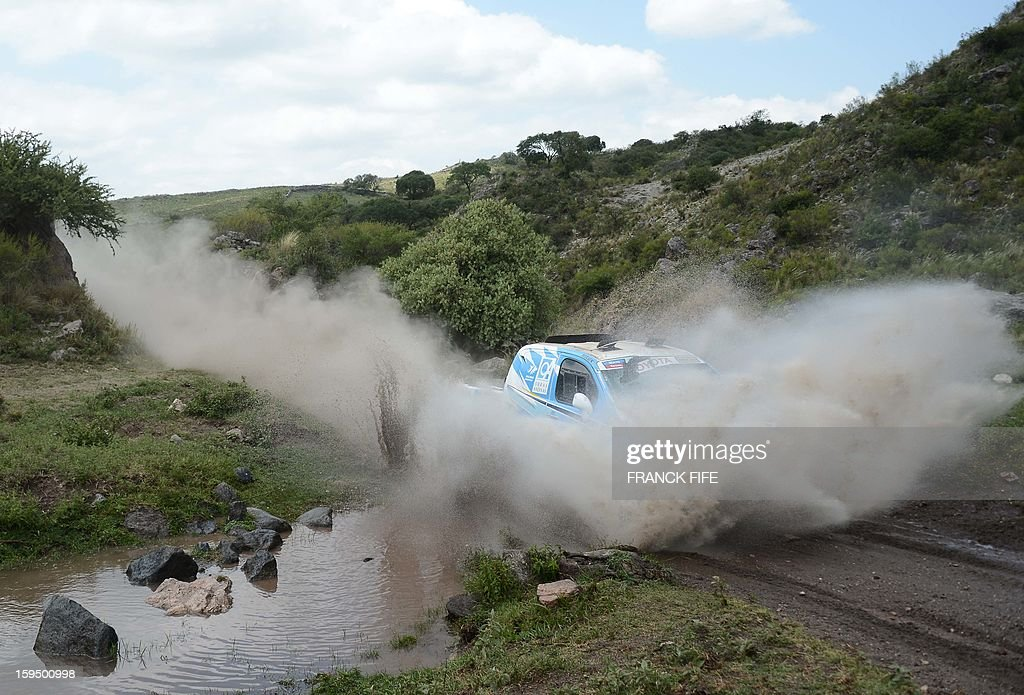 Argentina's Lucio Alvarez steers his Toyota during the Stage 9 of the Dakar 2013 between Tucuman and Cordoba, Argentina, on January 14, 2013. The rally takes place in Peru, Argentina and Chile from January 5 to 20.
