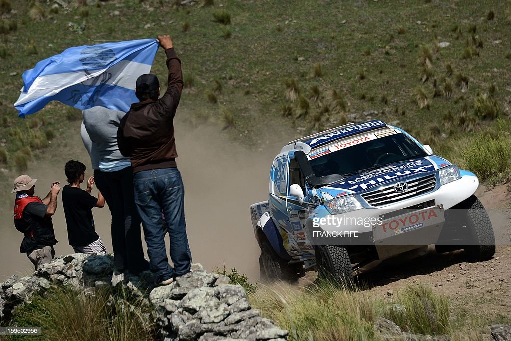Argentina's Lucio Alvarez steers his Toyota during the Stage 9 of the Dakar 2013 between Tucuman and Cordoba, Argentina, on January 14, 2013. The rally takes place in Peru, Argentina and Chile between January 5 and 20.