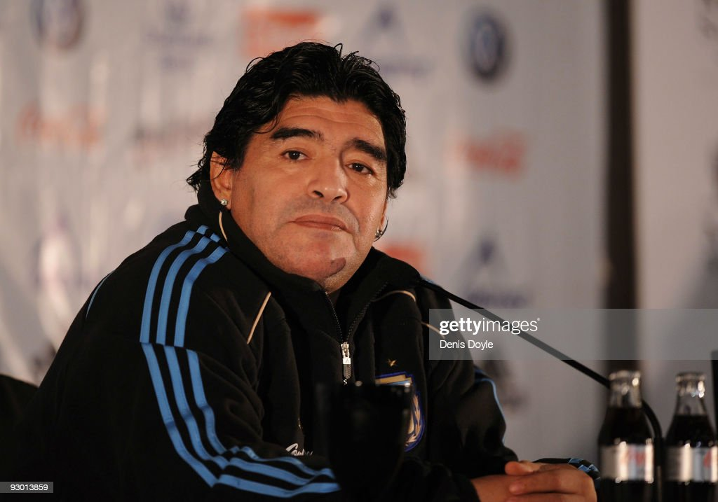 Argentina's manager <a gi-track='captionPersonalityLinkClicked' href=/galleries/search?phrase=Diego+Maradona&family=editorial&specificpeople=210535 ng-click='$event.stopPropagation()'>Diego Maradona</a> attends a press conference at a hotel on November 12, 2009 in Madrid, Spain. Argentina play Spain in an international friendly football match on November 14 at the Santiago Bernabeu stadium in Madrid.
