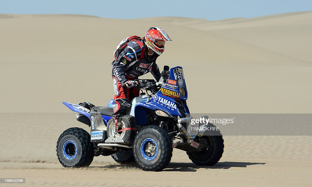 Argentina's Marcos Patronelli rides his Yamaha during the Stage 2 of the Dakar 2013 in Pisco, Peru, on January 6, 2013. The rally will take place in Peru, Argentina and Chile from January 5 to 20.