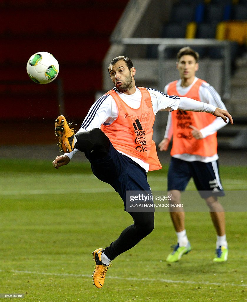 Argentina's Midfielder Javier Mascherano takes part in a training session of the Argentina national football team at the 'Friends Arena' in Stockholm, Sweden, on February 4, 2013 two days before the FIFA World Cup 2014 friendly match Sweden vs Argentina.