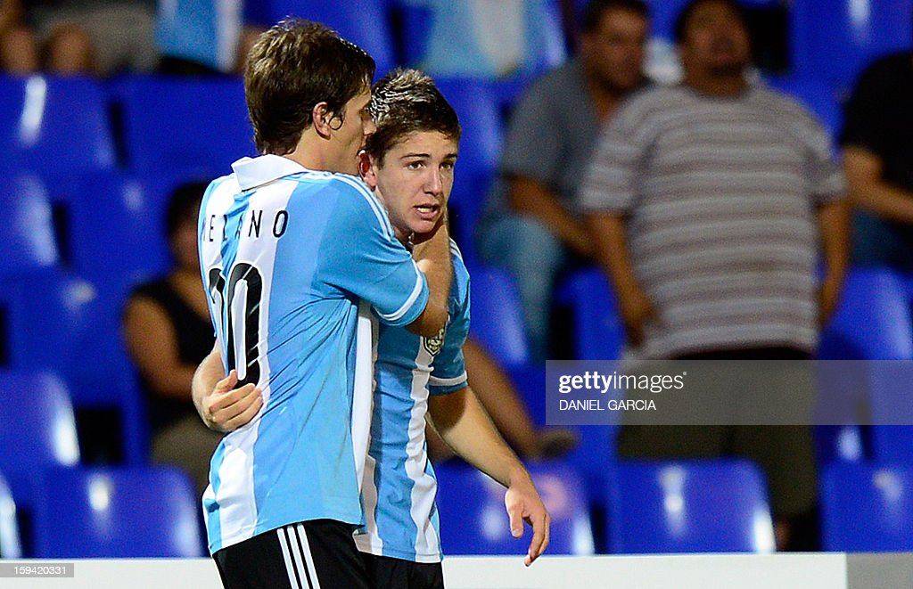 Argentina's midfielder Luciano Vietto (R) celebrates with teammate forward Lucas Melano after scoring against Bolivia during their Group A South American U-20 qualifier football match at Malvinas Argentinas stadium in Mendoza, Argentina, on January 13, 2013. Four teams will qualify for the FIFA U-20 World Cup Turkey 2013. AFP PHOTO / DANIEL GARCIA