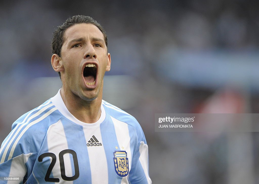 Argentina's midfielder Maxi Rodriguez celebrates after scoring a goal against Canada during a friendly football match at the Monumental stadium in Buenos Aires, Argentina, on May 24, 2010. Argentina is flying to South Africa for the World Cup finals on Friday, and will play their first match against Nigeria on June 12 in Johannesburg. AFP PHOTO/Juan MABROMATA