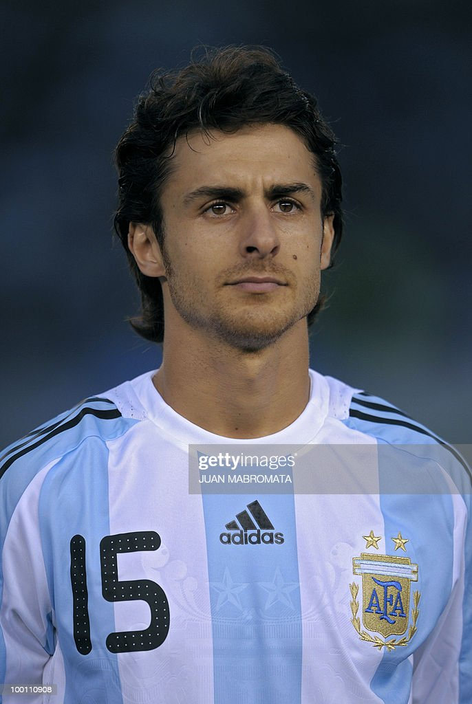 Argentina's midfielder Pablo Aimar looks on before the start of the FIFA World Cup South Africa-2010 qualifier football match against Peru at the Monumental stadium in Buenos Aires, Argentina on October 10, 2009. Argentina won 2-1. AFP PHOTO / Juan Mabromata