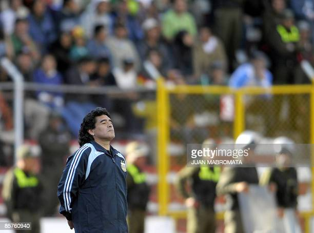 Argentina's national football team coach Diego Maradona gestures during their FIFA World Cup South Africa2010 qualifier football match against...