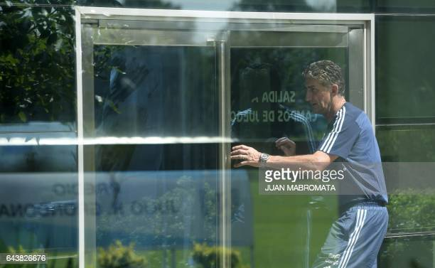 Argentina's national football team coach Edgardo Bauza arrives to offer an interview with AFP in Ezeiza Buenos Aires on February 22 2017 / AFP / Juan...