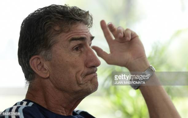 Argentina's national football team coach Edgardo Bauza offers an interview with AFP in Ezeiza Buenos Aires on February 22 2017 / AFP / Juan MABROMATA