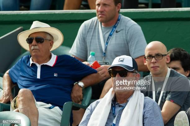 Argentina's national football team coach Edgardo Bauza watches the Argentina Open semifinal singles tennis match between Argentin's Carlos Berlocq...
