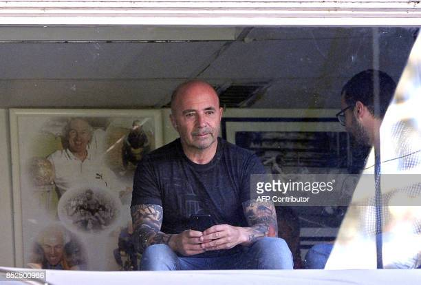 Argentina's National Football team coach Jorge Sampaoli attends the Argentina First Division Superliga football match between Velez Sarsfield and...