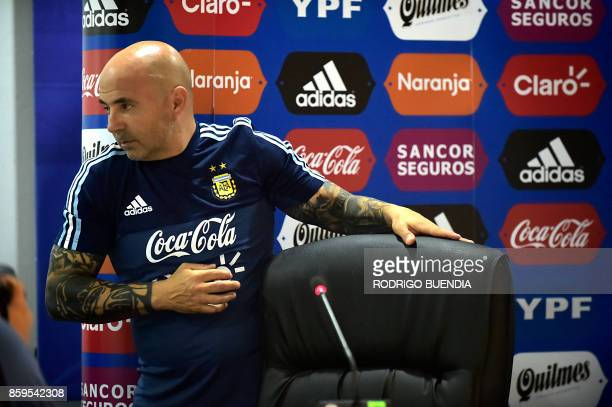 Argentina's national football team coach Jorge Sampaoli offers a press conferece at George Capwell stadium in Guayaquil Ecuador on October 9 2017...