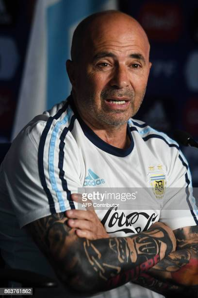 Argentina's national football team coach Jorge Sampaoli offers a press conferece in Ezeiza Buenos Aires on October 20 2017 / AFP PHOTO / Eitan...