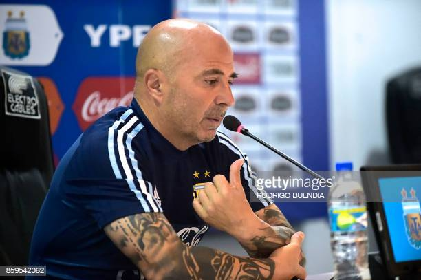 Argentina's national football team coach Jorge Sampaoli speaks during a press conferece at George Capwell stadium in Guayaquil Ecuador on October 9...