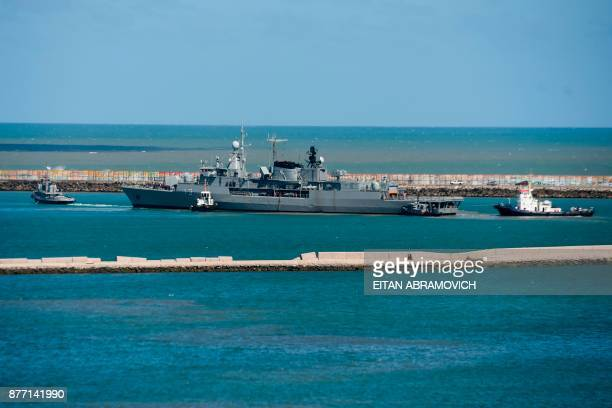 Argentina's Navy destroyer ARA Sarandi sails off to take part in the search of missing submarine ARA San Juan from the north breakwater of...