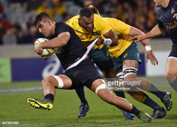 Argentina's Pablo Matera is tackled by Australia's Tevita Kuridrani during the Rugby Championship match between Australia and Argentina in Canberra...